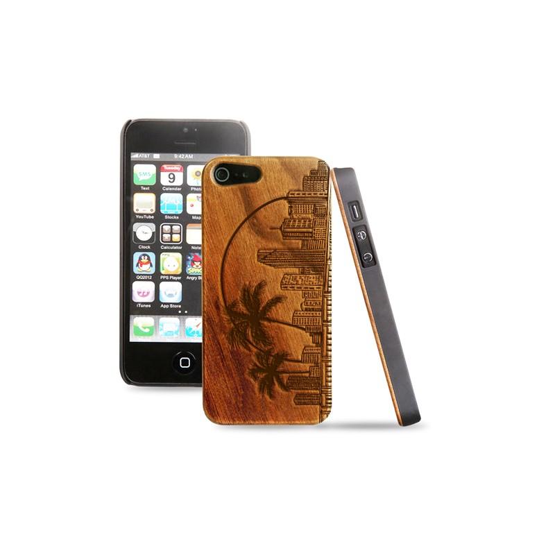 Cover in legno iPhone - incisione Miami