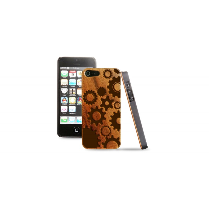 Cover in legno iPhone - incisione ingranaggi