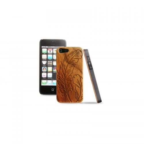 Cover in legno iPhone - incisione piume