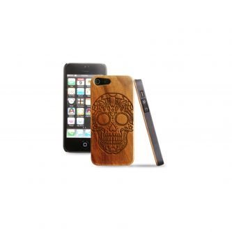 Cover in legno iPhone – incisione mexican skull