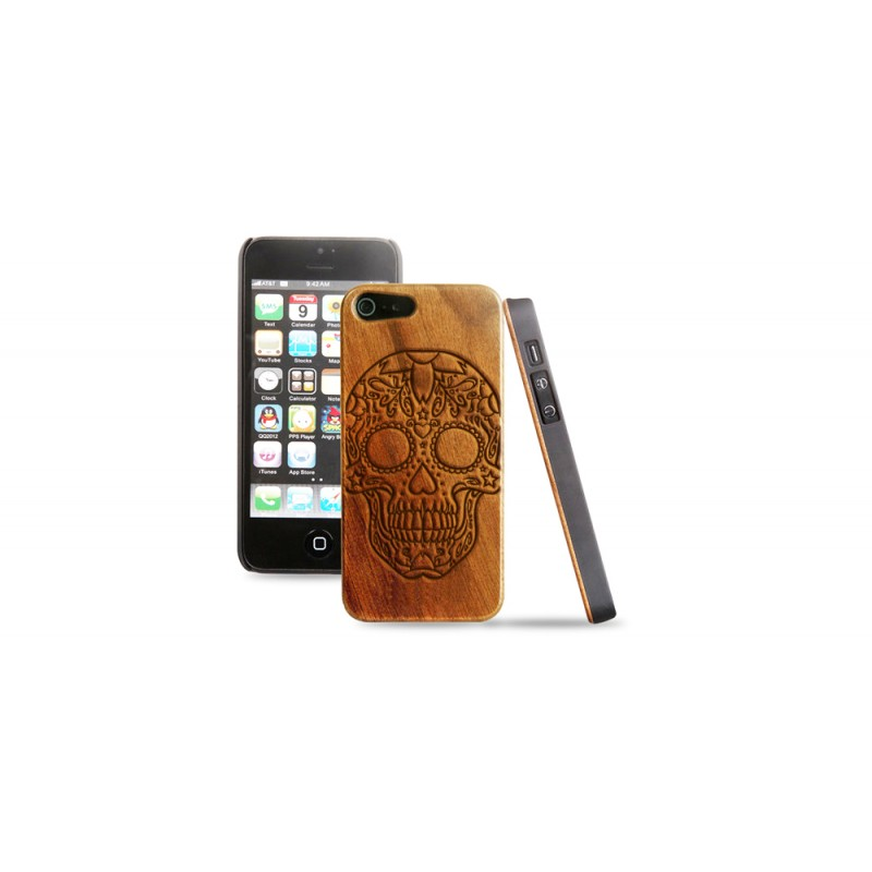 Cover in legno iPhone - incisione mexican skull