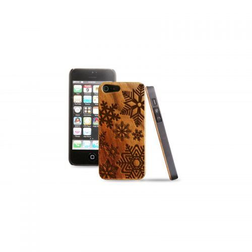 Cover in legno iPhone - incisione fiocchi di neve