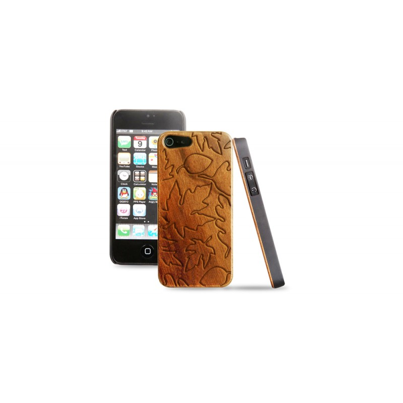 Cover in legno iPhone - incisione foglie