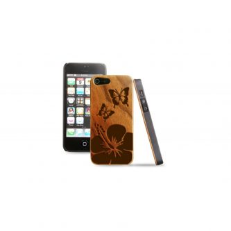 Cover in legno iPhone – incisione farfalla