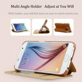Baseus Terse Serie Custodia in pelle con supporto e visualizzazione dell'ID per Samsung galaxy s6