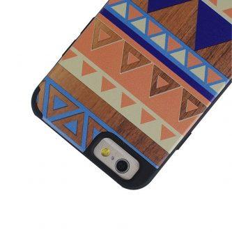 Cover iPhone 6 e 6s in Legno colorato con disegno Tribale Blue