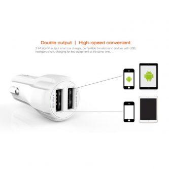 Caricabatteria da Auto LDNIO 3.4A Doppia Uscita USB + Cavo Micro USB