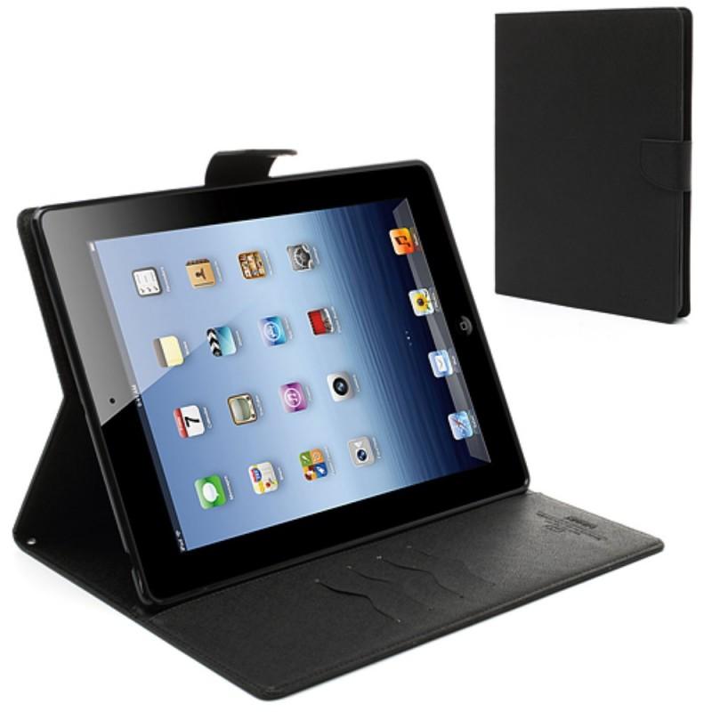 Mercury Cover in Pelle a Diario tipo Libro Raccoglitore per iPad 2/3/4 - Nero