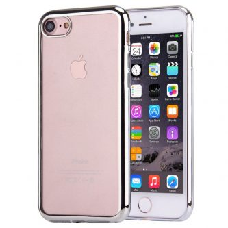 Cover iPhone 7 in TPU Trasparente e Bordo Cromato