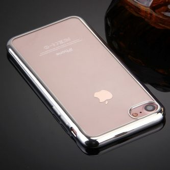 Cover iPhone 7 in TPU Trasparente e Bordo Cromato